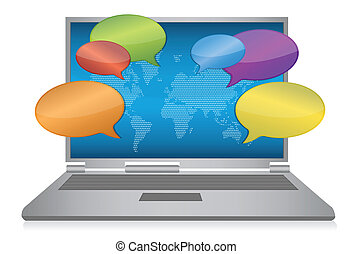 média, concept, internet, social