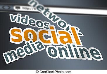 média, concept, mots, social
