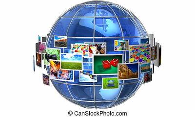 média, concept, télécommunication