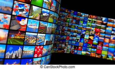 média, concept, technologie, multimédia, ruisseler