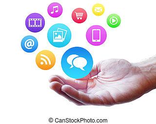 média, concept, webdesign, internet, social