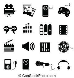 média, ensemble, apparenté, icône