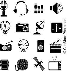 média, ensemble, icônes