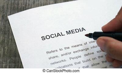 média, entourer, social
