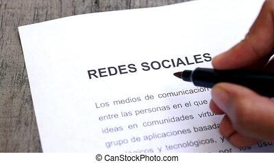 média, entourer, social, stylo