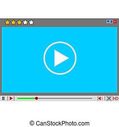 média, film, interface., joueur, vidéo