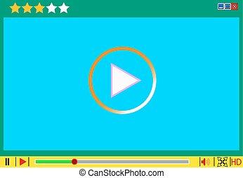 média, film, vecteur, interface., joueur, vidéo, illustrations