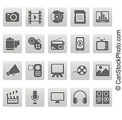 média, icônes, carrés, gris