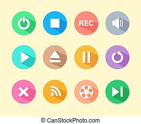 média, icônes, plat