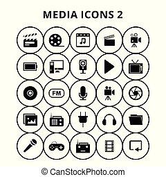 média, icônes