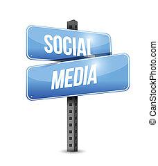 média, illustration, signe, conception, social, route