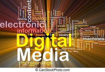 média, incandescent, concept, fond, numérique