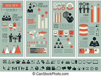 média, infographic, template., social