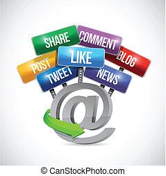 média, ligne, illustration, signe, social, route