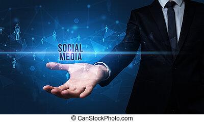 média, main, apparenté, social, inscription, tenue