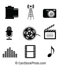 média, masse, icônes