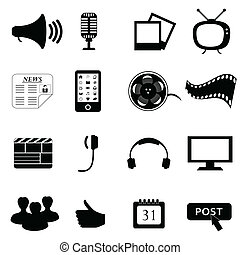média, multimédia, ou, icônes