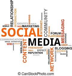 média, -, nuage, mot, social