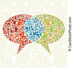 média, parler, social, icône, ensemble, bulles