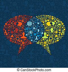 média, parole, interaction, bulle, social