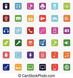 média, plat, ensemble, coloré, icônes