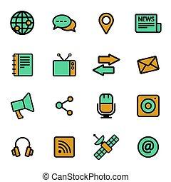 média, plat, vecteur, ensemble, icônes