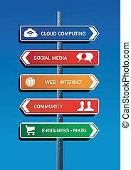 média, poste, plan, route, social