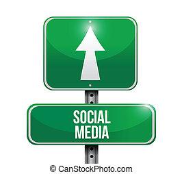 média, signe, conception, social, illustrations, route