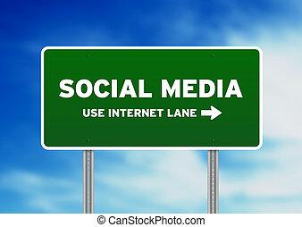 média, signe, social, rue