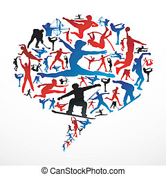 média, silhouettes, social, sports