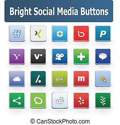 média, social, boutons, clair, 2