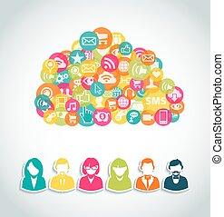 média, social, calculer, nuage, concept