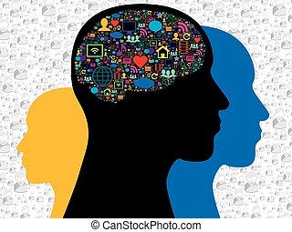 média, social, cerveau, icônes