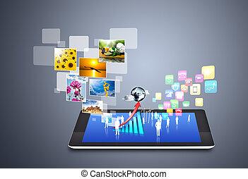 média, social, icônes technologie
