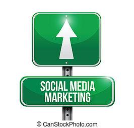 média, social, illustration, signe, commercialisation, route