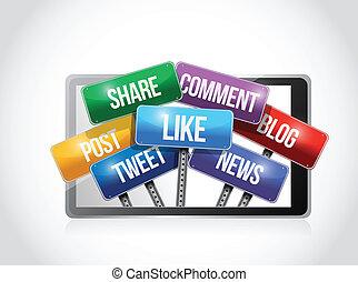 média, social, illustration, tablette, signe