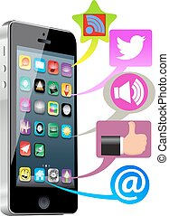 média, social, intelligent, téléphone