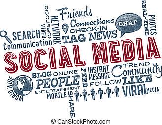 média, social, mot, nuage, icônes