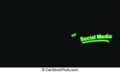 média, social, néon, scribblings