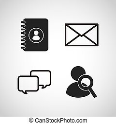 média, social, plat, icônes
