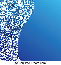 média, social, réseau, fond, icône