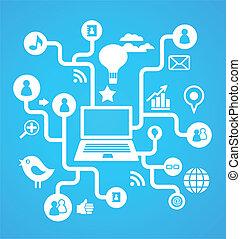 média, social, réseau, fond, icônes