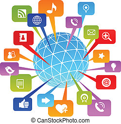 média, social, réseau, mondiale, icônes