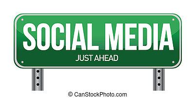 média, social, route, illustration, signe