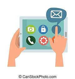 média, social, tablette, icônes