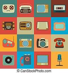 média, style, retro, icônes