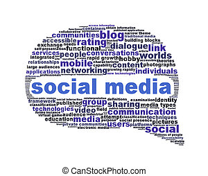 média, symbole, blanc, isolé, social
