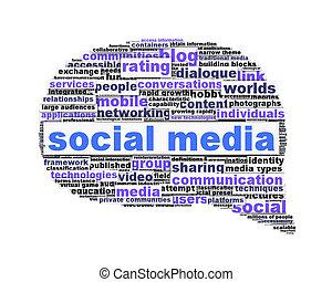 média, symbole, isolé, conception, social, conceptuel, blanc