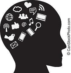média, tête, social, humain, icônes