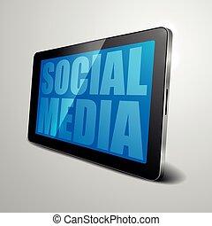média, tablette, social